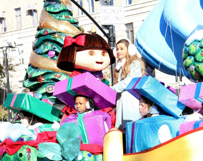 Singer Ariana Grande with Nickelodeon's SpongeBob SquarePants, Dora The Explorer and Teenage Mutant Ninja Turtles kick off the holidays at 87th annual Macy's Thanksgiving Day Parade on November 28, 2013 in New York City. (Photo by Laura Cavanaugh/Getty Images for Nickelodeon)