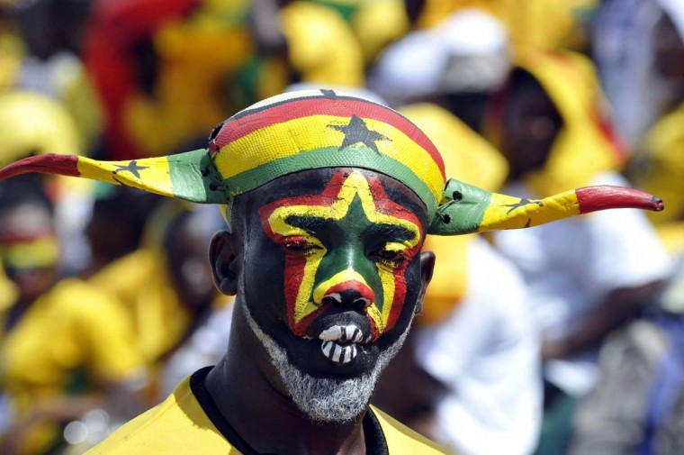 A fan of Ghana national football team attends the 2014 World Cup qualifying football match between Ghana and Egypt on October 15,2013 at the Babayara Sports Stadium in Kumasi. The teams are scheduled to play again on Tuesday. (AFP/Getty Images)