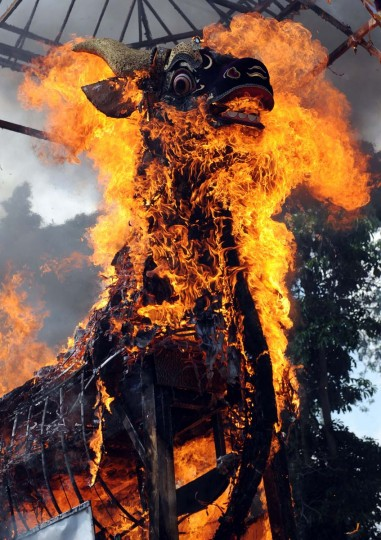 A sarcopagus is burned during the cremation of Balinese royal Tjokorda Istri Sri Tjandrawati, in Ubud on Bali island on November 1, 2013. Balinese Hindus believe cremation is intended to return bodies to the fundamental elements of fire, air, water, earth and void. (Sonny Tumbelaka/AFP/Getty Images)