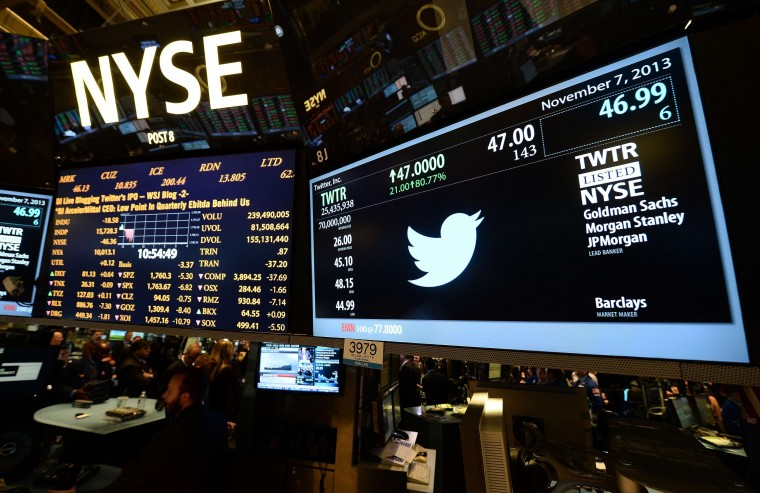 A screen displays a Twitter and share price logo as it starts trading at the New York Stock Exchange (NYSE) on November 7, 2013 in New York. Twitter hit Wall Street with a bang on Thursday, as an investor frenzy quickly sent shares surging after the public share offering for the fast-growing social network. In the first exchanges, Twitter vaulted 80.7 percent to $47, a day after the initial public offering (IPO) at $26 per share. While some analysts cautioned about the fast-changing nature of social media, the debut led to a stampede for Twitter shares. (Emmanuel DunanAFP/Getty Images)
