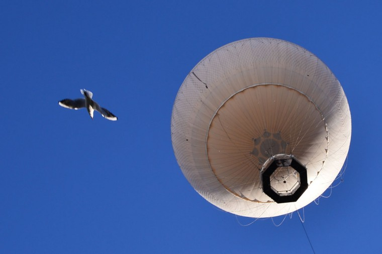 A hot air balloon and a seagull fly over Turin on November 11, 2013. (GIUSEPPE CACACE / AFP/Getty Images)