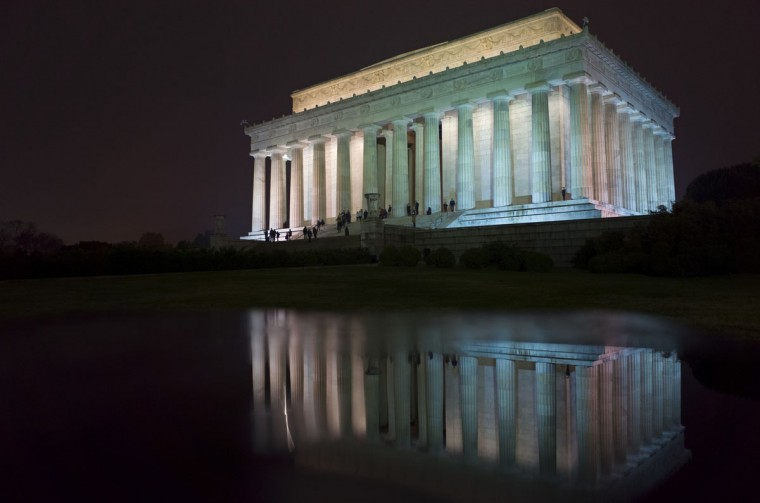 A November 16, 2013 photo shows the Lincoln Memorial, with its reflection on the top of a sign post, on the National Mall in Washington, DC. The nation will mark the 150th anniversary of Abraham Lincoln's famous Gettysburg address delivered during the American Civil War on November 19. (Mandel Ngan/AFP/Getty Images)