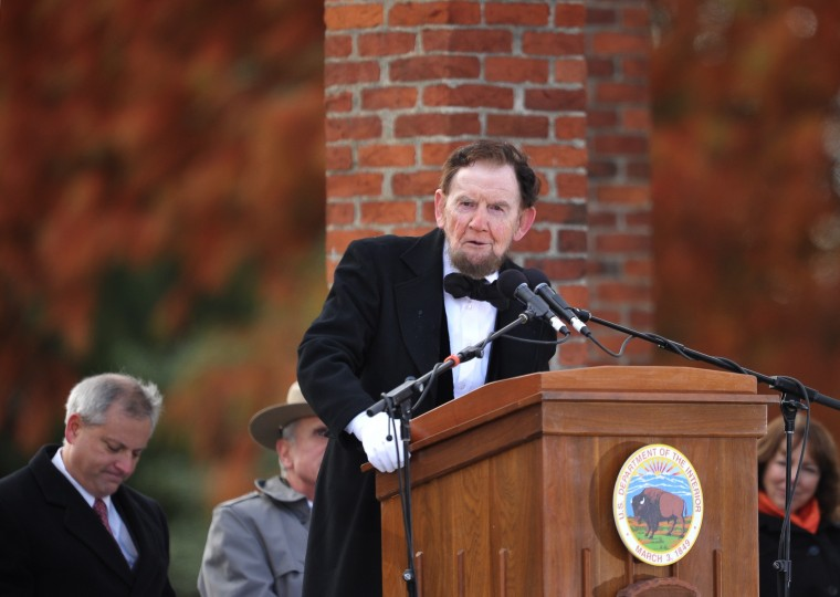 James Getty, portraying the 16th president of the US Abraham Lincoln, recites the Gettysburg Address during the commemoration of the 150th anniversary Lincolns historic Gettysburg Address on November 19, 2013 at Gettysburg National Military Park in Gettysburg, Pennsylvania.(Mandel Ngan/AFP/Getty Images)