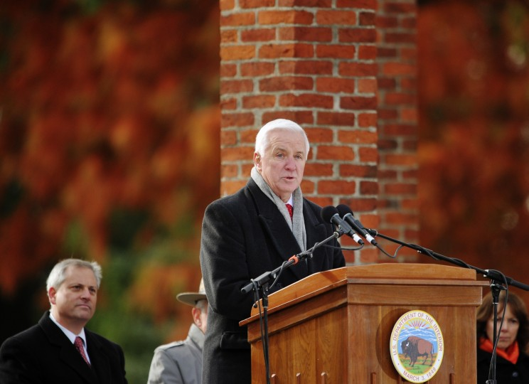 Pennsylvania Governor Tom Corbett speaks during the commemoration of the 150th anniversary of US President Abraham Lincolns historic Gettysburg Address on November 19, 2013 at Gettysburg National Military Park in Gettysburg, Pennsylvania. (Mandel Ngan/AFP/Getty Images)
