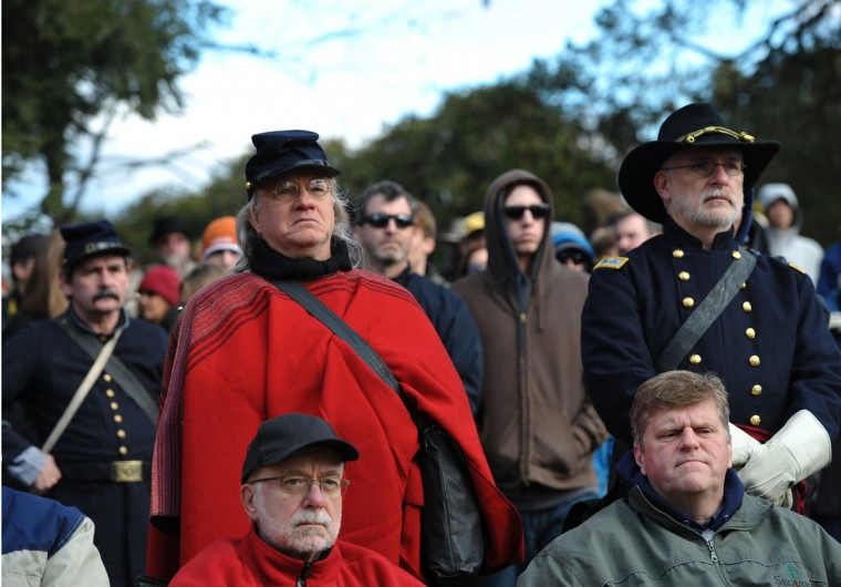 Audience members, some in period costumes, watch the commemoration ceremony of the 150th anniversary of US President Abraham Lincolns historic Gettysburg Address on November 19, 2013 at Gettysburg National Military Park in Gettysburg, Pennsylvania. (Mandel Ngan/AFP/Getty Images)