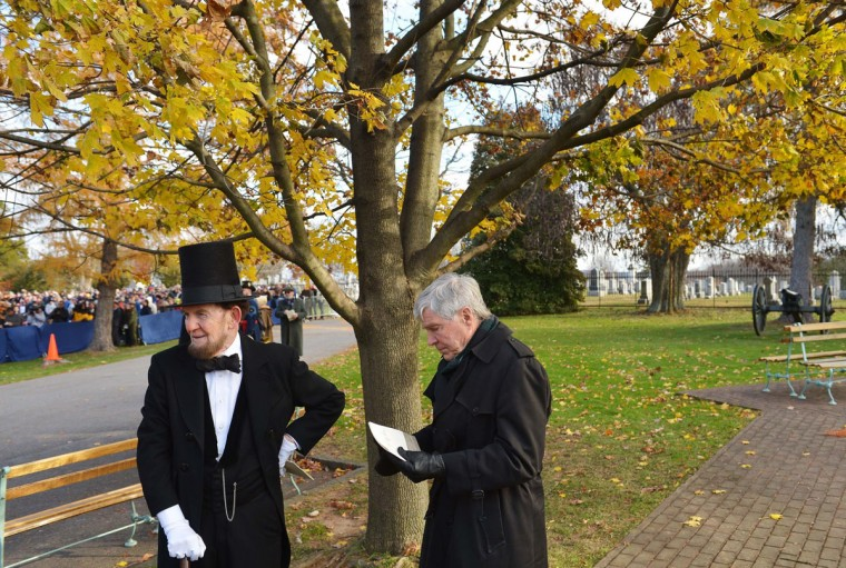 James Getty, portraying the 16th president of the US Abraham Lincoln stands next to Civil War historian James McPherson (R) before the start of the commemoration ceremony, on the 150th anniversary of US President Abraham Lincolns historic Gettysburg Address on November 19, 2013 at Gettysburg National Military Park in Gettysburg, Pa. (Mandel Ngan/AFP/Getty Images)