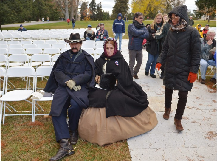 John Smith (L) and his wife Diane Smith are dressed in civil war era costumes as they portray Union calvary officer John Buford and his wife Pattie before the start of the commemoration ceremony on the 150th anniversary of US President Abraham Lincolns historic Gettysburg Address on November 19, 2013 at Gettysburg National Military Park in Gettysburg, Pennsylvania. (Mandel Ngan/AFP/Getty Images)
