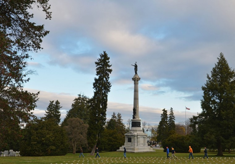 The New York State Monument is seen on the 150th anniversary of US President Abraham Lincolns historic Gettysburg Address on November 19, 2013 at Gettysburg National Military Park in Gettysburg, Pennsylvania. (Mandel Ngan/AFP/Getty Images)