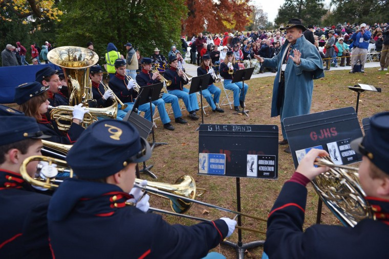 The Gettysburg High School Ceremonial Brass Band warms up before the start of the commemoration ceremony on the 150th anniversary of US President Abraham Lincolns historic Gettysburg Address on November 19, 2013 at Gettysburg National Military Park in Gettysburg, Pennsylvania. (Mandel Ngan/AFP/Getty Images)