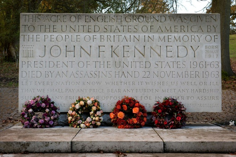 A memorial stone for former US President John F Kennedy is seen following a service in Runnymede, Surrey on November 22, 2013, to mark the 50th anniversary of his assassination. (Ben Stansall/AFP/Getty Images)