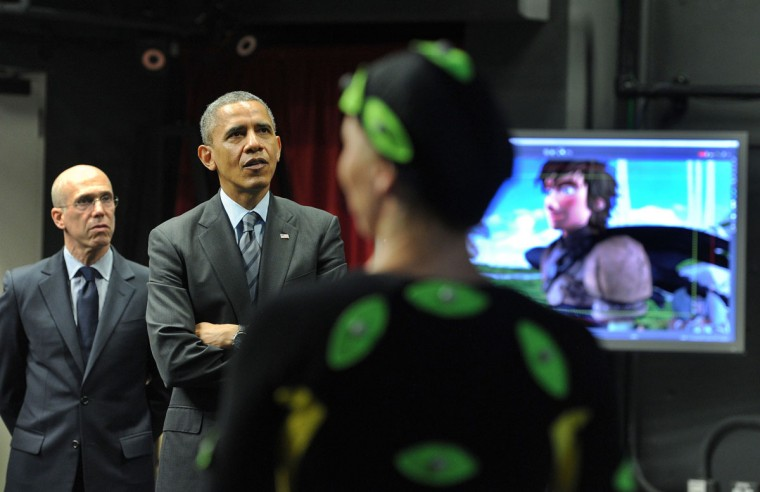 "US President Barack Obama watches motion capture at the set of ""How to Train Your Dragon 2"" as he tours DreamWorks Animation in Glendale, California, on November 26, 2013 before speaking on the economy. (Jewel Samad/AFP/Getty Images)"