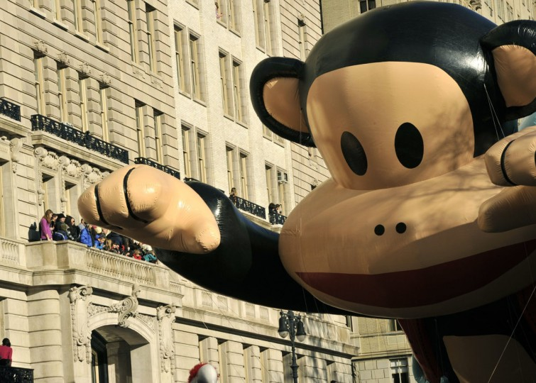 The Paul Frank balloon makes down Central Park West during the 87th Macy's Thanksgiving Day Parade in New York. (TIMOTHY CLARY/AFP/Getty Images)
