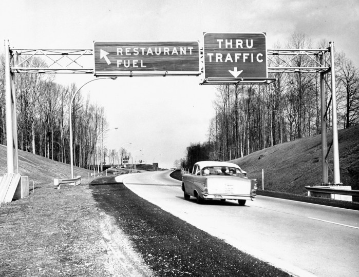 Motorists travel on the newly opened section of the Northeastern Expressway in 1964. (Joe Dipaola/Baltimore Sun)