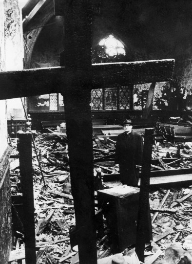 7/18/1971 - Baltimore, MD - Rev. Michael Hutnyan surveys the remains of St. Andrew the Apostle Russian Orthodox Church after it was destroyed by a fire. (Weyman Swagger/Baltimore Sun)
