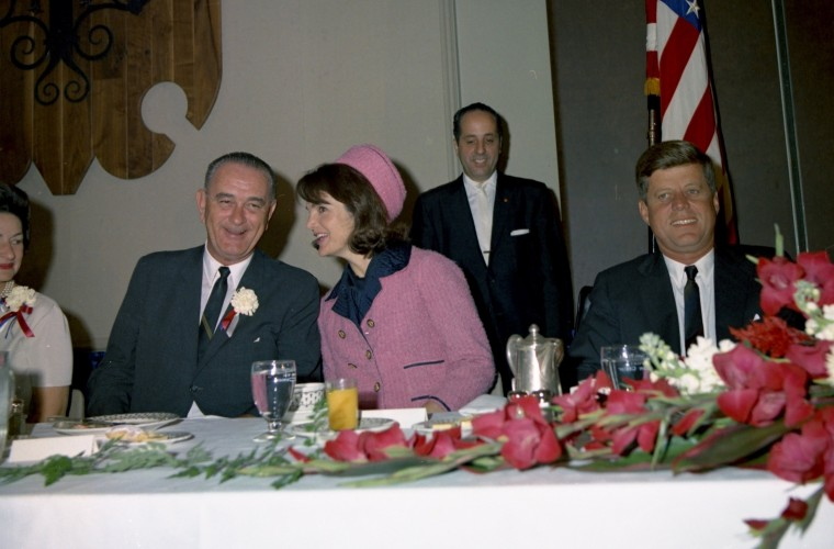 President Kennedy attends the Fort Worth Chamber of Commerce breakfast at the Hotel Texas in Fort Worth, Texas, before taking a short flight to Dallas. Seated at the head table are (L-R) Lady Bird Johnson, Vice President Lyndon B. Johnson, first lady Jacqueline Kennedy and the president. (Cecil Stoughton/John F. Kennedy Presidential Library and Museum/MCT)