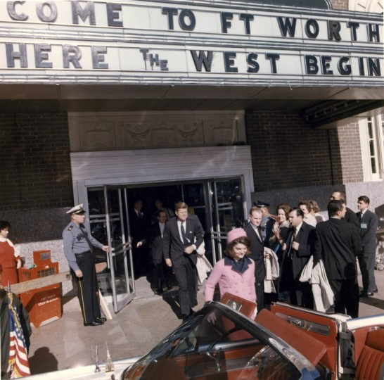 President Kennedy and first lady Jacqueline Kennedy exit the Hotel Texas after the Fort Worth Chamber of Commerce breakfast in Fort Worth, Texas. They soon depart for the short trip to Dallas. (Cecil Stoughton/John F. Kennedy Presidential Library and Museum/MCT)