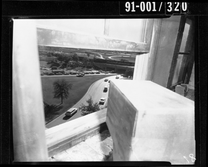 Dallas police discover a sniper's nest constructed from book boxes around a sixth-floor floor window in the Texas School Book Depository. (Dallas Police Department/Dallas Municipal Archives/MCT)