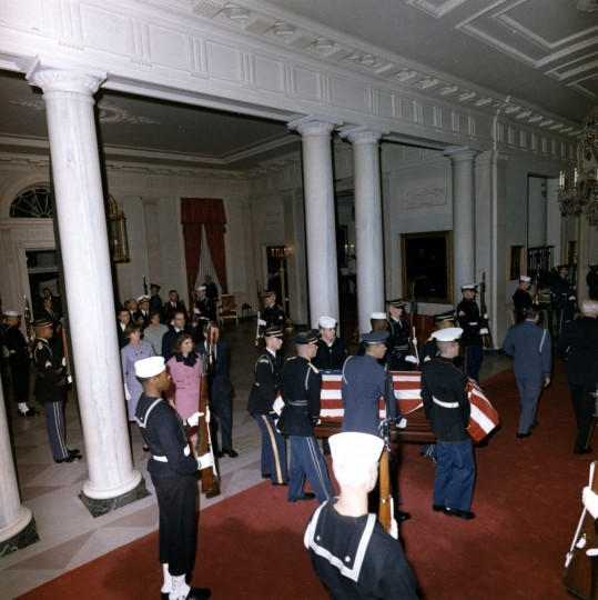 President Kennedy's body enters the White House to lie in state early on Nov. 23, 1963. (Cecil Stoughton/John F. Kennedy Presidential Library and Museum/MCT)
