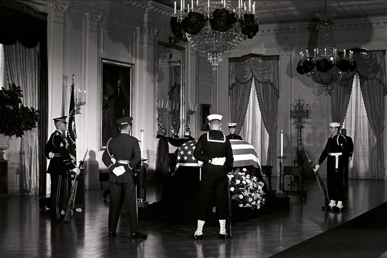 President Kennedy's casket lies in state in at the White House, attended by an honor guard on Nov. 23. (Robert Knudsen/John F. Kennedy Presidential Library and Museum/MCT)