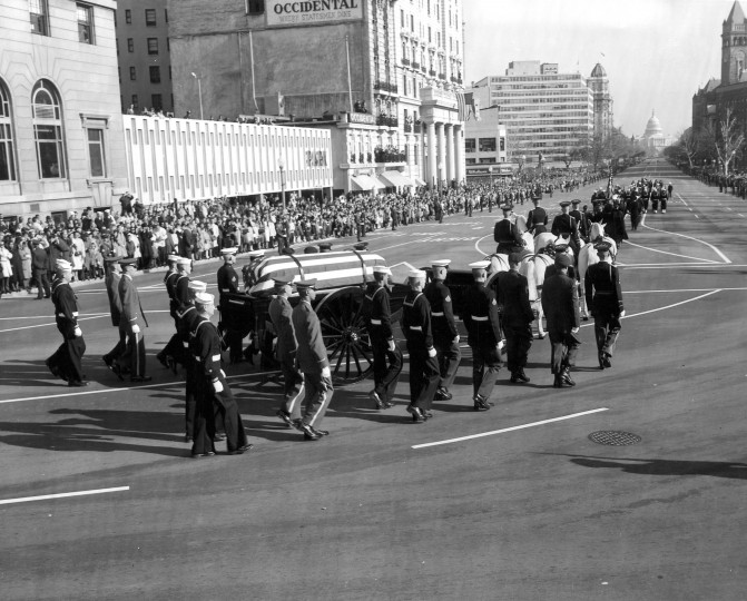 President Kennedy's body is borne from the White House to the U. S. Capitol in Washington, D.C., on Nov. 24. (U. S. Army Signal Corps/John Fitzgerald Kennedy Library and Museum/MCT)