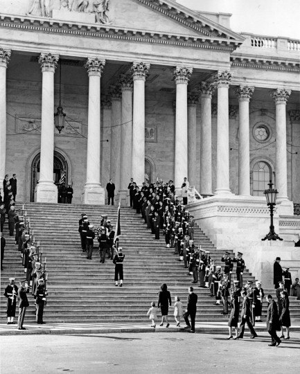 Jacqueline Kennedy, Caroline Kennedy, John F. Kennedy Jr., Robert F. Kennedy, Stephen Smith, Jean Kennedy Smith and Secret Service agent Cling Hill follow the casket bearing President Kennedy up the stairs of the U.S. Capitol for the lying in state at the United States Capitol in Washington, D.C., on Nov. 24. (Abbie Rowe/National Park Service/John F. Kennedy Presidential Library and Museum/MCT)