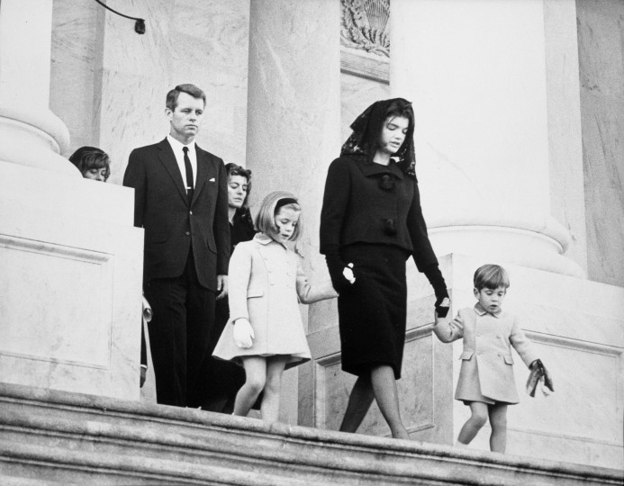 Kennedy family members leave a memorial ceremony for President John F. Kennedy at the U.S. Capitol building in Washington, D.C., on Nov. 24. Family members include Robert F. Kennedy, Patricia Lawford, Caroline Kennedy, former first lady Jacqueline Kennedy and John F. Kennedy, Jr. (Abbie Rowe/National Parks Service/John F. Kennedy Presidential Library and Museum/MCT)