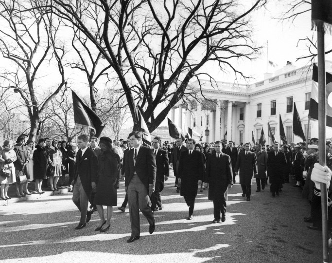The procession to St. Matthews Cathedral for the funeral of President John F. Kennedy leaves the White House in Washington, D.C., on Nov. 25, 1963. First Row, L-R: Attorney General Robert F. Kennedy, Jacqueline Kennedy, Senator Edward M. Kennedy; Second Row: James Auchincloss, R. Sargent Shriver and Steven Smith; Third Row: Mrs. Lady Bird Johnson, President Johnson and Luci Baines Johnson. (Abbie Rowe/National Park Service/John F. Kennedy Presidential Library and Museum/MCT)