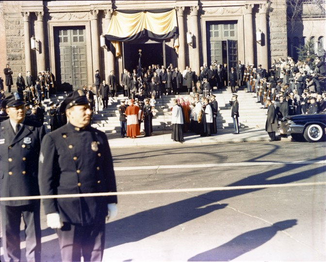 The body of the late President Kennedy is carried from St. Matthews Cathedral in Washington, D.C., following the funeral Mass on Nov. 25. (SP4 David S. Schwartz/US Army Signal Corps/John F. Kennedy Presidential Library and Museum/MCT)