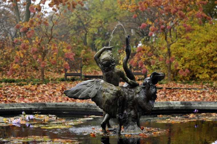 """Swan Boy,"" a fountain cast by H. Crowther Ltd., an English manufacturer of lead garden ornaments, is surrounded by the colors of autumn in the Water Lily Garden on the last day of the 2013 season at Ladew Topiary Gardens. (Kim Hairston/Baltimore Sun)"
