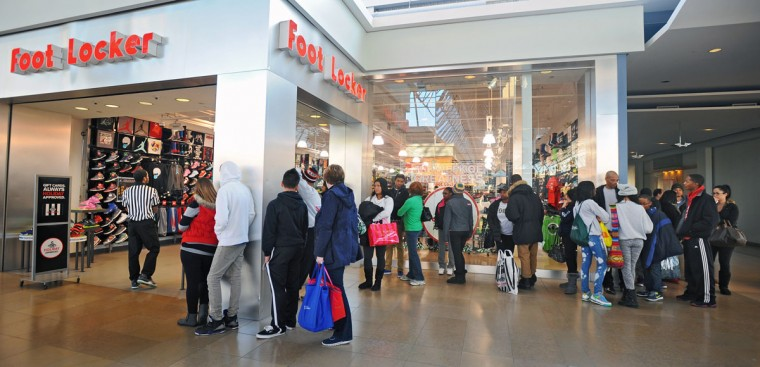 A line formed outside the Foot Locker store in the Mall in Columbia for the eight o'clock release of the new Jordan % sneakers on Black Friday. (Kenneth K. Lam/Baltimore Sun)