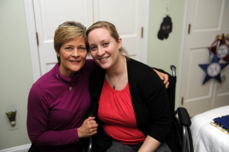 Erika Brannock poses for a photo with her mother, Carol Downing on left. (Barbara Haddock Taylor/Baltimore Sun)