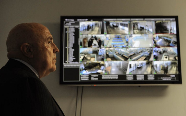 Ricky Foxwell, the Jail Administration Officer, in his office where the new security camera system can be viewed in the Baltimore City Detention Center. (Lloyd Fox/Baltimore Sun)