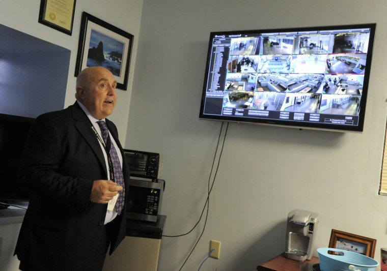 Ricky Foxwell, the Jail Administration Officer, in his office where the new security camera system can be viewed. (Lloyd Fox/Baltimore Sun)