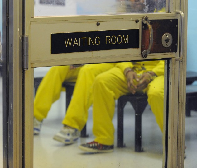 Inmates waiting in the medical department in the Baltimore City Detention Center. (Lloyd Fox/Baltimore Sun)