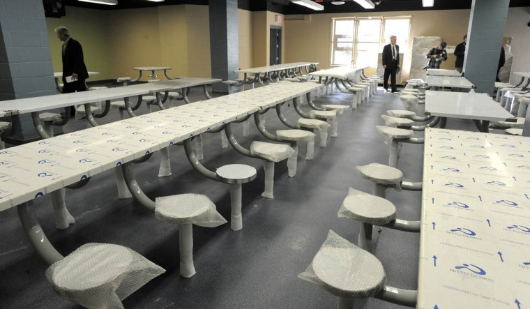 The new first floor cafeteria in the Annex building at the Baltimore City Detention Center. (Lloyd Fox/Baltimore Sun)