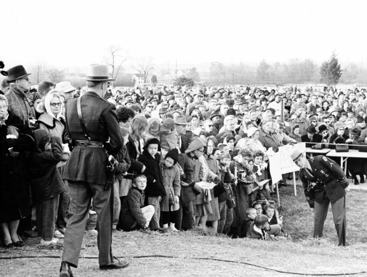 President John F. Kennedy paid his visit to Maryland November 14 when he cut ribbon to open Northeast Expressway with Governor J. Millard Tawes near Elkton. (George H. Cook/Baltimore Sun)