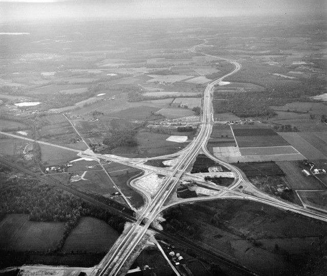 A new interchange is seen prior to the opening of the Northeastern Expressway in 1963. (Richard Stacks/Baltimore Sun)