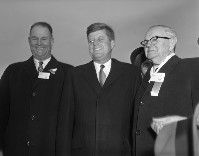 L to R; Delaware Governor Elbert Carvel, President John Kennedy, Maryland Governor Millard Tawes dedicate the new highway. (Division of Motor Vehicles)