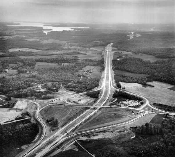 An interchange under construction is seen prior to the opening of the Northeastern Expressway in 1963. (Richard Stacks/Baltimore Sun)