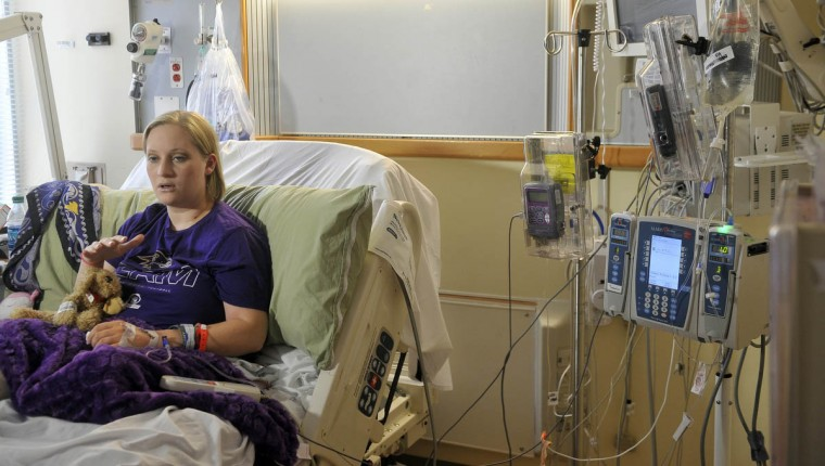 Erika Brannock talks about the Boston Marathon bombings and life since losing her left leg below the knee and multiple surgeries to save her right leg. On left is a scarf given to her by Amanda North, the woman who helped save her life. Brannock is recovering from a recent surgery at the University of Maryland Medical Center. (Kim Hairston/Baltimore Sun)