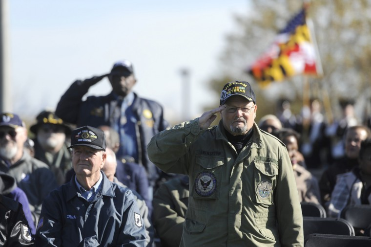Al Grinspoon, right of Baltimore, salutes at a Veterans Day remembrance at the Vietnam Veterans of Maryland Memorial. He served in both the Army and Navy. (Barbara Haddock Taylor/Baltimore Sun)