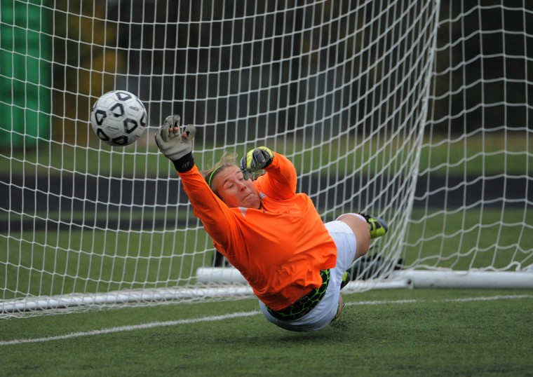 Arundel's Tiffany Dayton-Hegedus blocks a shot in the first half vs. Broadneck. (Algerina Perna/Baltimore Sun)