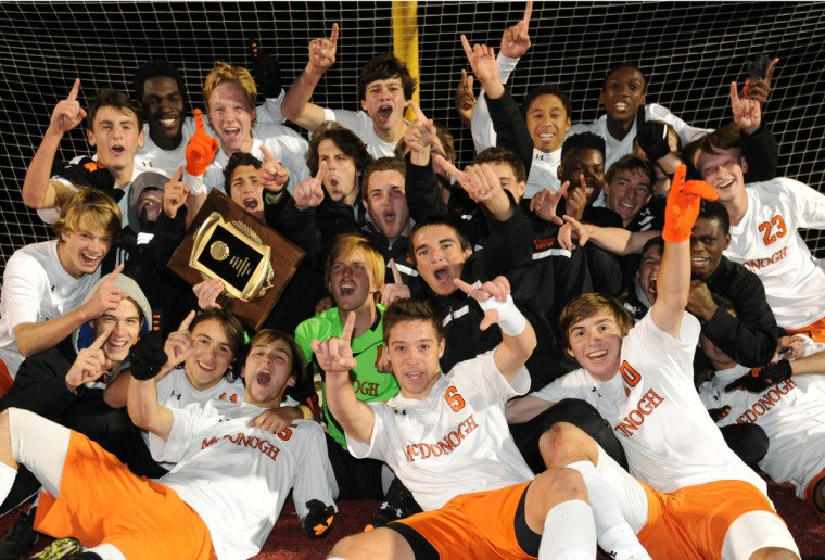 McDonogh celebrates winning the 2013 MIAA A Conference Boys Soccer Championship against St. Paul's School. (Algerina Perna/Baltimore Sun)