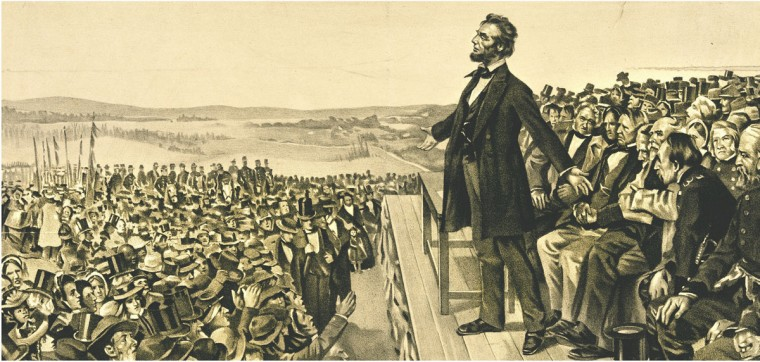 A 1905 artist's rendering depicts President Abraham Lincoln speaking at the dedication of the Gettysburg National Cemetery on Nov. 19, 1863. (Library of Congress)