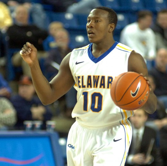 Name: Devon Saddler College: Delaware Position: Shooting guard Year: Senior Local high school: Aberdeen Hometown: Aberdeen 2012-13 stats: 19.9 points, 4.5 rebounds, 2.8 assists, 42.8% shooting, 82% free throw Just 361 points shy of Delaware's career scoring record, Saddler will leave Newark this spring as one of the most decorated Blue Hens basketball players of all time. The 6-foot-2, 210-pound shooting guard is the second-leading active Division I scorer (behind just Creighton's Doug McDermott) with 1,670 points. A first-team All-Colonial Athletic Association player as a junior, Saddler is expected to challenge for conference Player of the Year honors this season. Photo courtesy of University of Delaware athletics