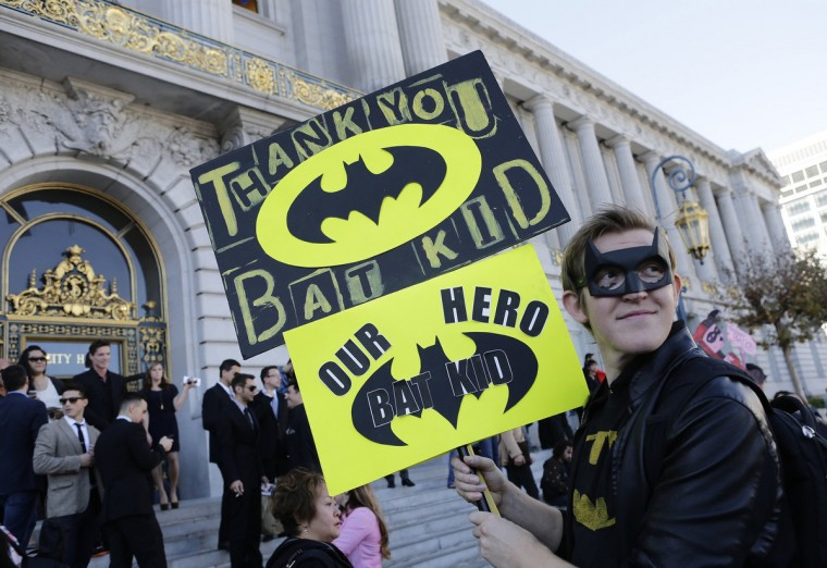 John Ewing waits outside of City Hall for the Batkid, Miles Scott, 5, to make an appearance at a rally in San Francisco on Friday, Nov. 15, 2013. Miles is a leukemia survivor from Tulelake in Siskiyou County, Calif. After battling leukemia since he was a year old, Miles is now in remission. One of his heroes is Batman, so to celebrate the end of his treatment, the Make-A-Wish Greater Bay Area granted his wish to become Batkid for a day. (Gary Reyes/Bay Area News Group/MCT)