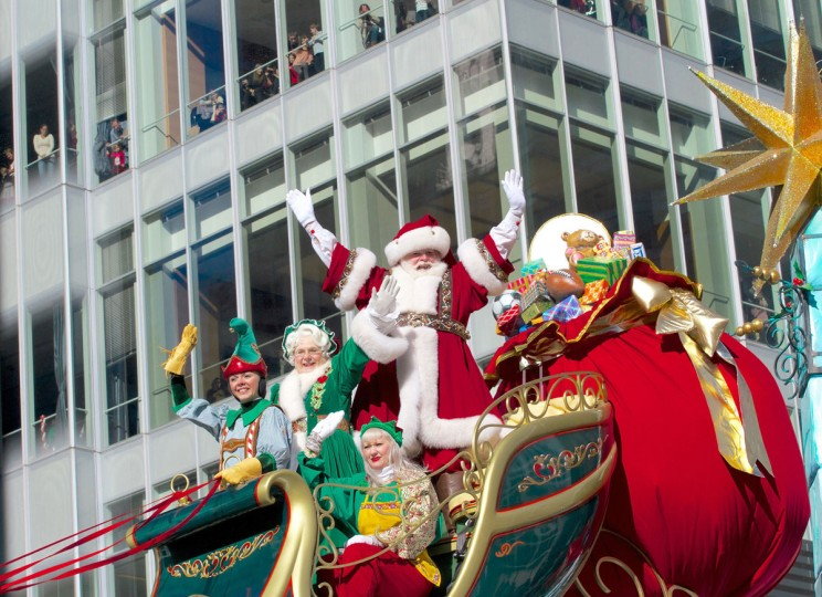 Santa Claus waves to the crowd during the Macy's Thanksgiving Day Parade in New York on Thursday, Nov., 28, 2013. (Staton Rabin/Zuma Press/MCT)