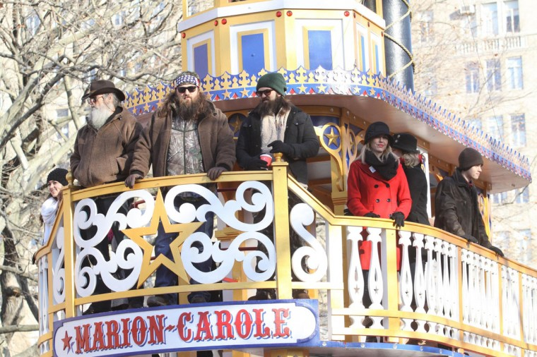 "Members of the TV show ""Duck Dynasty"" ride a float during the Macy's Thanksgiving Day Parade in New York on Thursday, Nov., 28, 2013. (John Barrett/Gobe Photos via Zuma Press/MCT)"