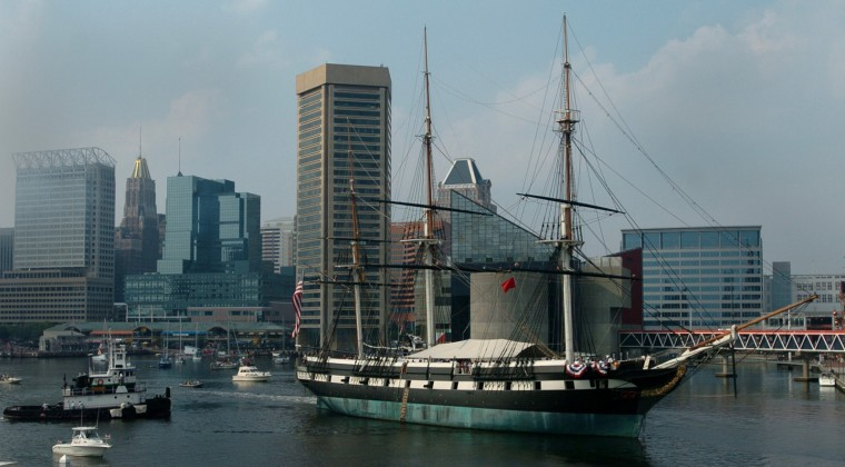 U.S.S. Constellation leaves its dock in the Inner Harbor on a round trip journey to Ft. McHenry. The ship has to turn around once a year to weather its opposite side. (Kim Hairston/Baltimore Sun Photo/Sept. 9, 2005)