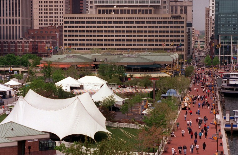 Tents take a temporary place in the Baltimore skyline for the Baltimore Waterfront Festival at the Inner Harbor this weekend. The festival will feature food, games and boatrides. (Elizabeth Malby/Baltimore Sun/April 26, 2000)